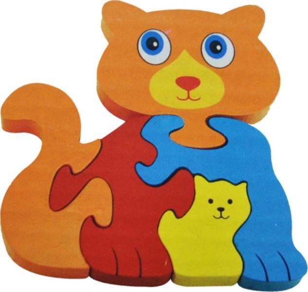 Tradiční dřevěná hračka Dřevěné puzzle Kočka s koťátkem 5 dílků