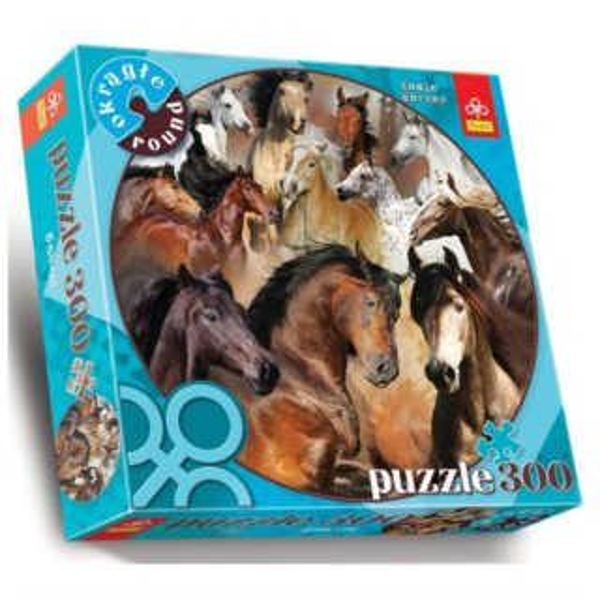 Kruhové (kulaté) puzzle TREFL 300 dílků - Koně
