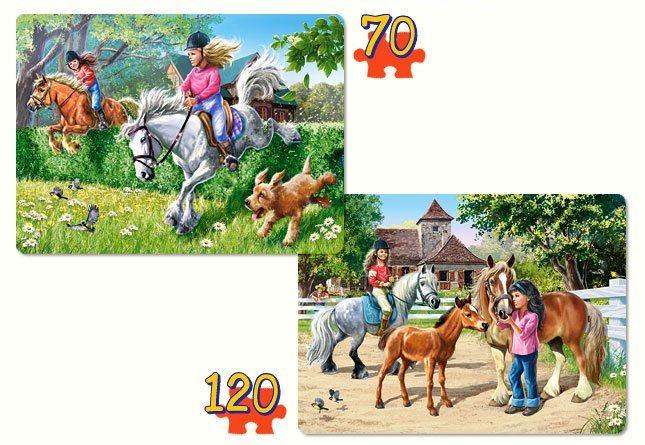 CASTORLAND puzzle 2v1 Koně jezdectví 70+120 dílků