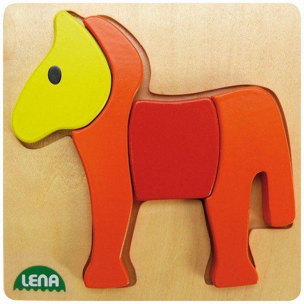 LENA Dřevěné puzzle Koník