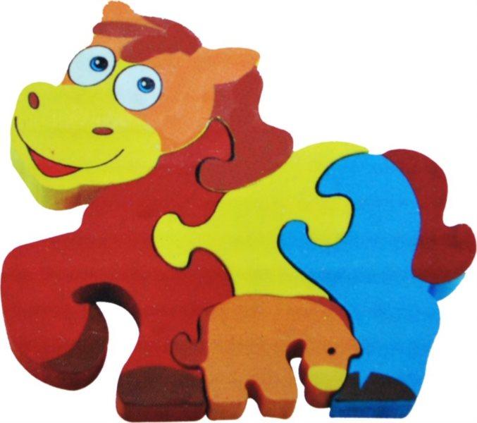 Dětské dřevěné puzzle, Koník s hříbátkem