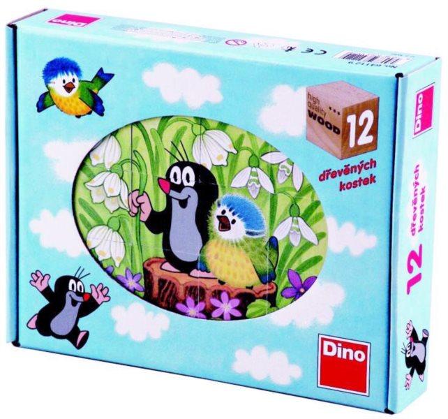 DINO Obrázkové kostky Krtek a ptáček, 12 kostek