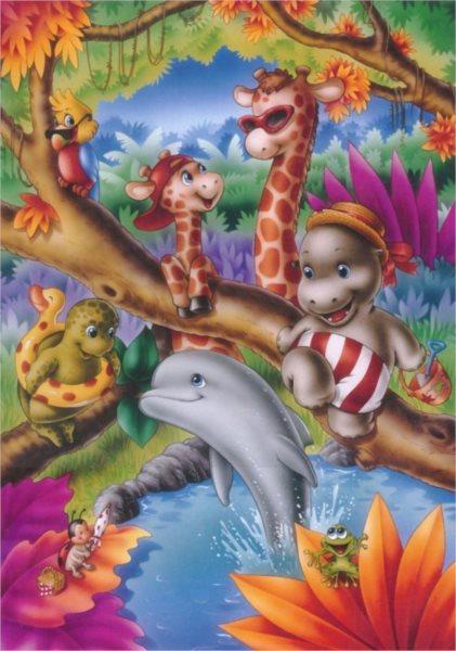 MASTER LINE Dětské puzzle Koupání v džungli 99 dílků