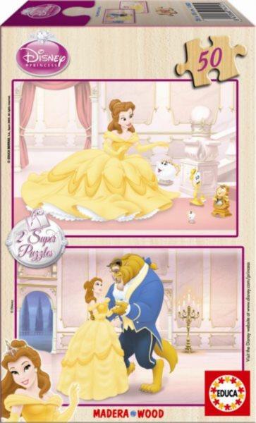 EDUCA Dřevěné puzzle Kráska a zvíře 2x50 dílků