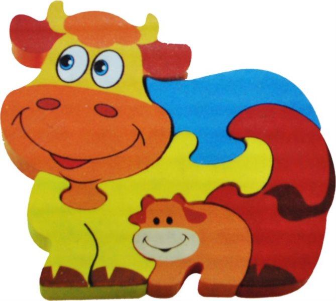 Dětské dřevěné puzzle, Kravička s telátkem