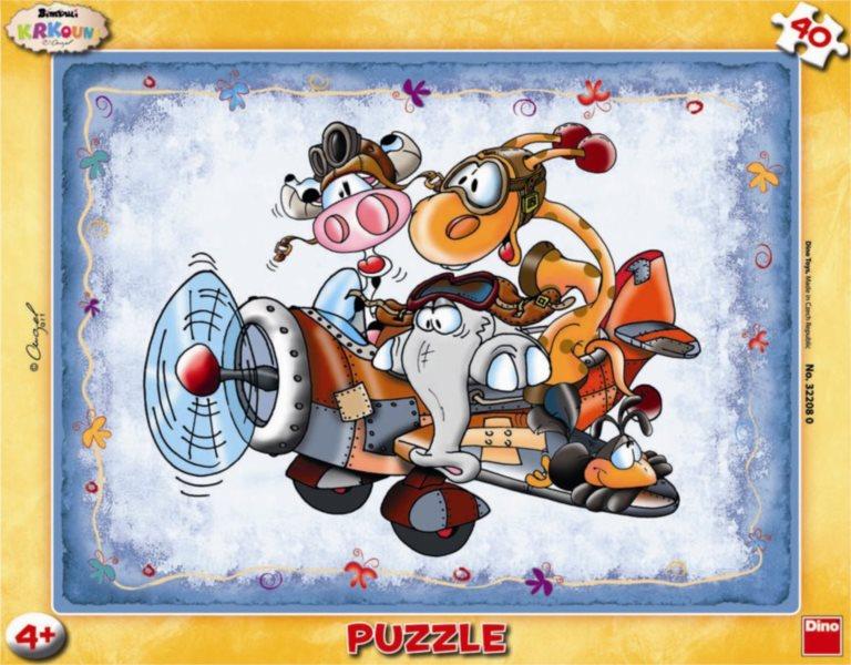 DINO Puzzle Krkouni a letadlo 40 dílků