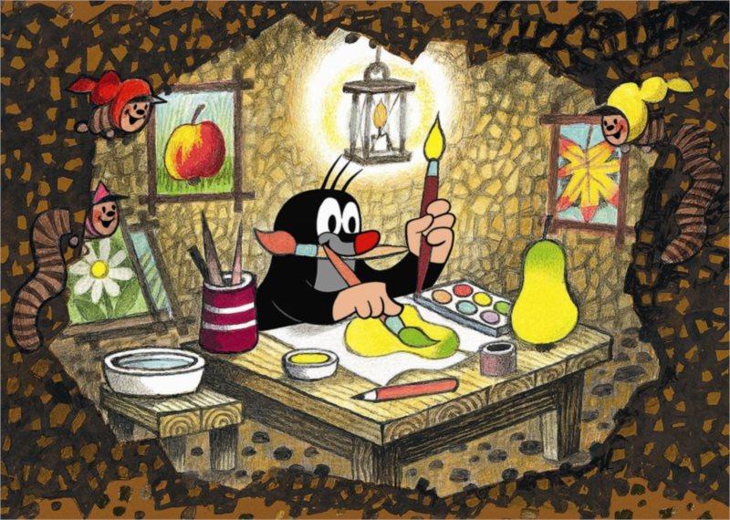 Podlahové puzzle pro děti DINO - Krteček malířem - 24 dílků