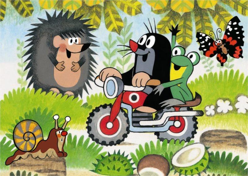 Podlahové puzzle pro děti DINO - Krteček: Na motorce - 24 dílků