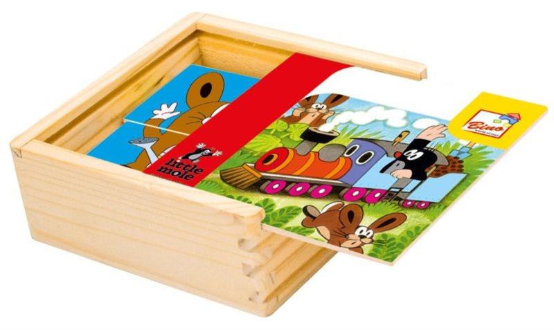 BINO Dřevěné puzzle Krtek 4x4 dílky