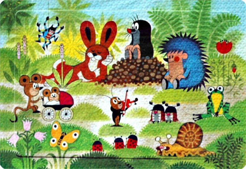 Pěnové puzzle Krtek a jeho kamarádi (na louce) 6 dílků