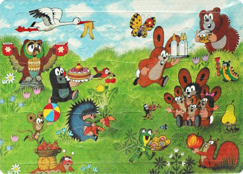 Pěnové puzzle 12 dílků - Krtek a kamarádi přejí zajíčkům