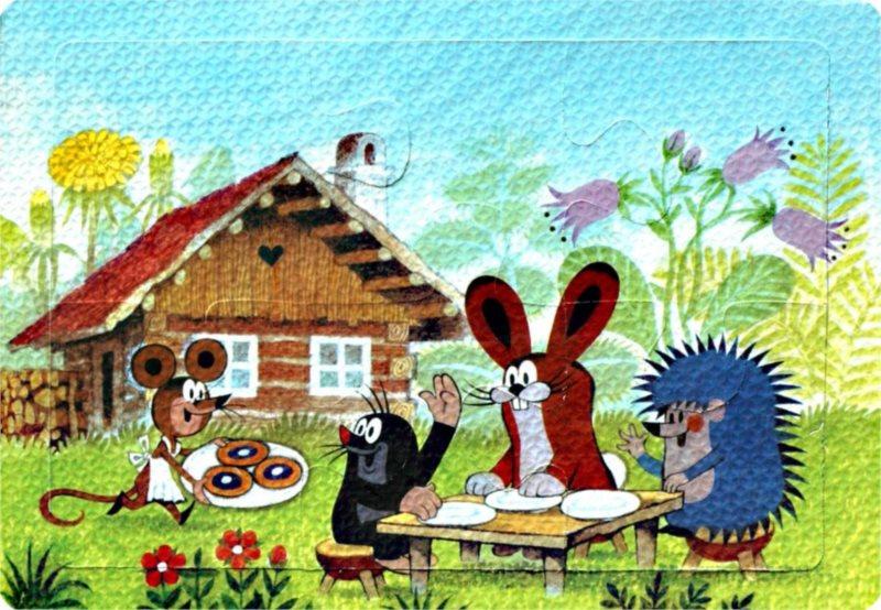 Pěnové puzzle Krtek a kamarádi u stolečku 6 dílků