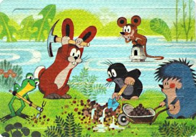 Pěnové puzzle 24 dílků - Krtek a kamarádi zachraňují myšku