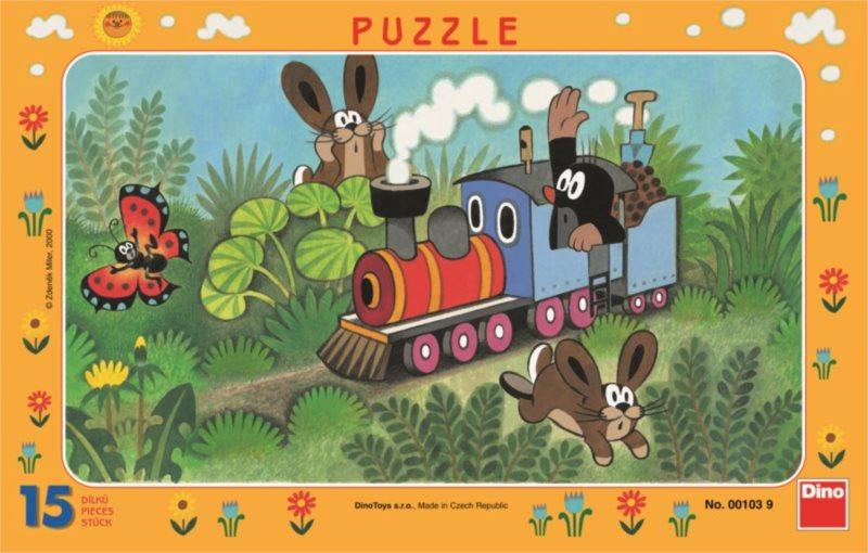 DINO Puzzle Krtek a lokomotiva 15 dílků