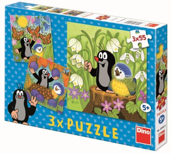 Dětské puzzle 3v1 DINO - Krtek a ptáček 3v1