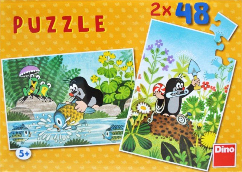 DINO Puzzle Krtek a rybka, Krtek a plné ruce 2x48 dílků