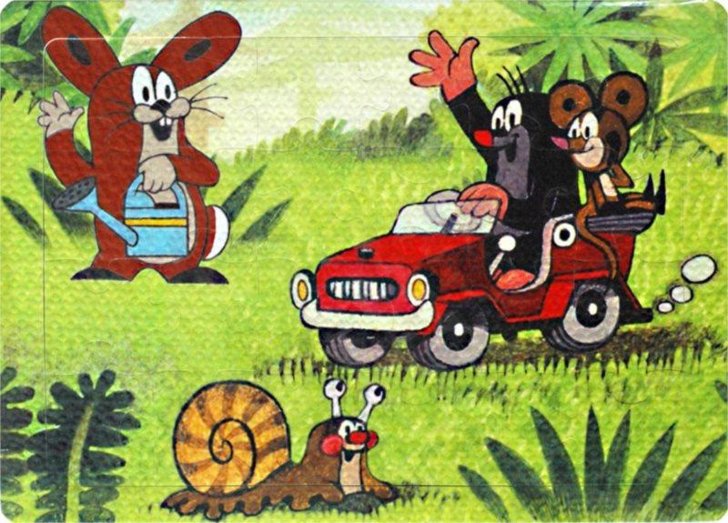 Pěnové puzzle Krtek s myškou v autíčku 24 dílků
