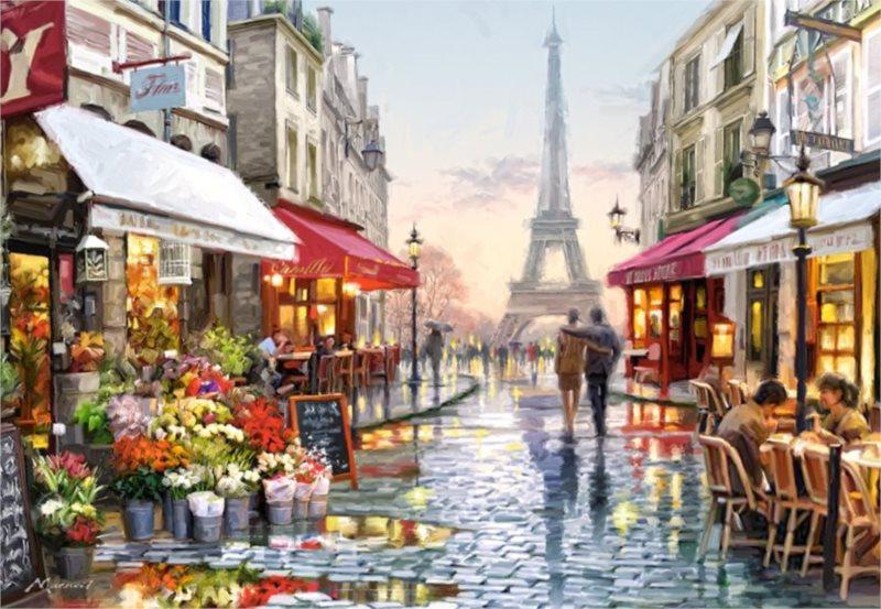 CASTORLAND Puzzle Květinářství v Paříži 1500 dílků