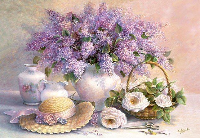 CASTORLAND Puzzle Květiny - šeříky a růže 1000 dílků