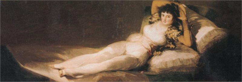Panoramatické puzzle EDITIONS RICORDI 1000 dílků - Goya, La Maja vestida, 1803