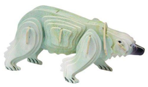 WOODEN TOY , WCK 3D puzzle Lední medvěd barevný