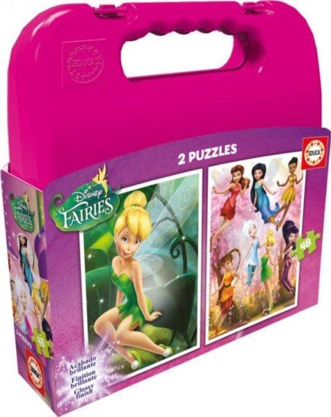 EDUCA Puzzle v kufříku 2x48 dílků - Víla Zvonilka s přáteli