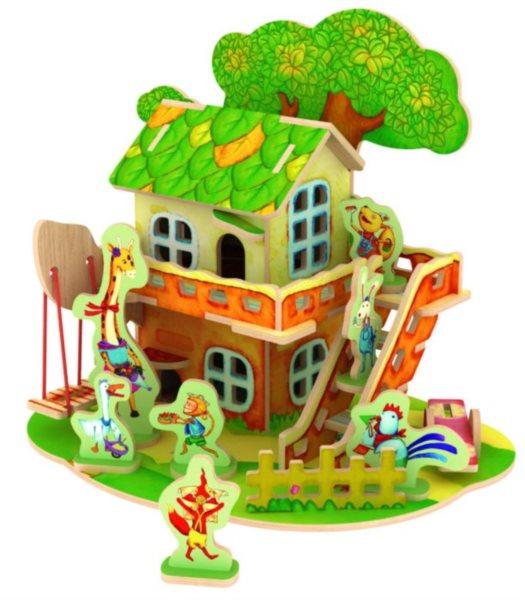 ROBOTIME 3D puzzle Lesní domek se zvířátky barevný