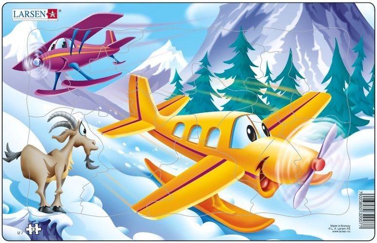 LARSEN Puzzle Letadla v horách 13 dílků