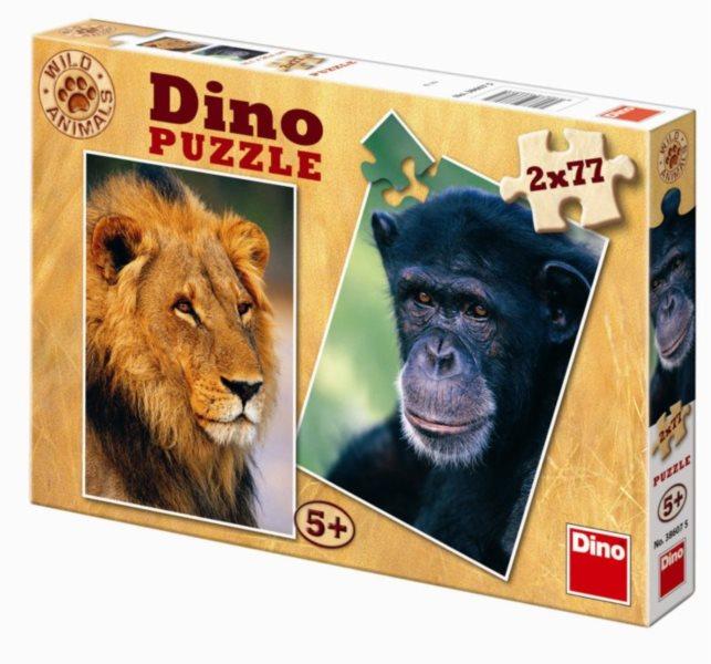 DINO Puzzle Lev a šimpanz 2x77 dílků