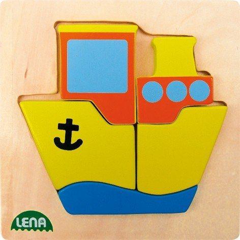 LENA Dřevěné puzzle Lodička