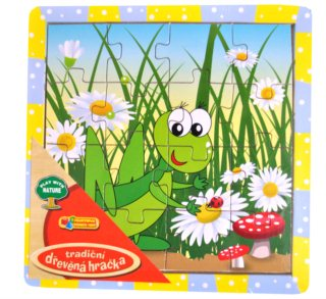 Dřevěné deskové puzzle pro děti - Luční koník 16 dílků