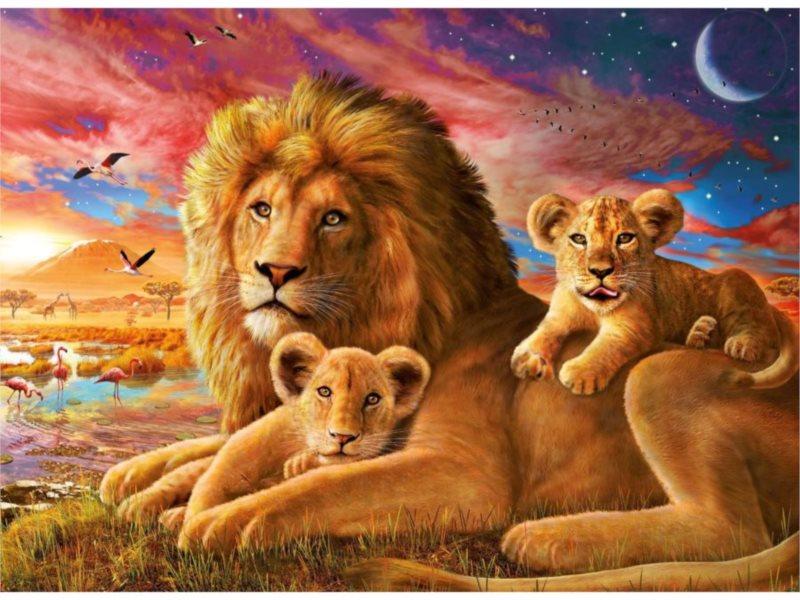 Puzzle RAVENSBURGER 500 dílků - Lví rodinka
