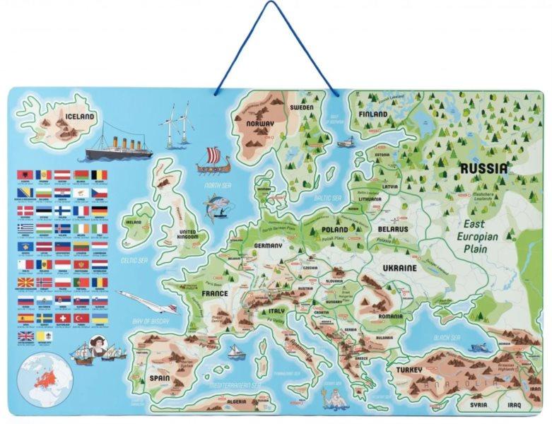 WOODY Magnetická mapa Evropy s obrázky a společenská hra, 3v1 v angličtině