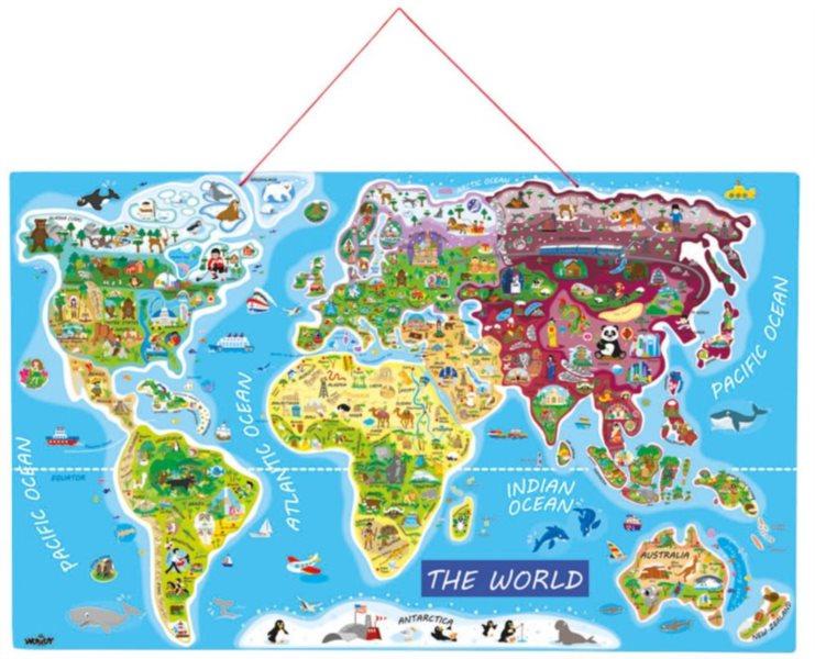 WOODY Magnetické puzzle Mapa světa Orbis pictus 91 dílků