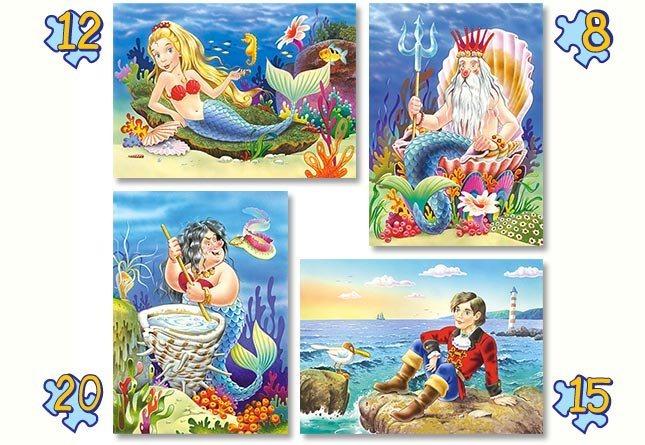 CASTORLAND Puzzle Malá mořská víla 4v1 (8,12,15,20 dílků)