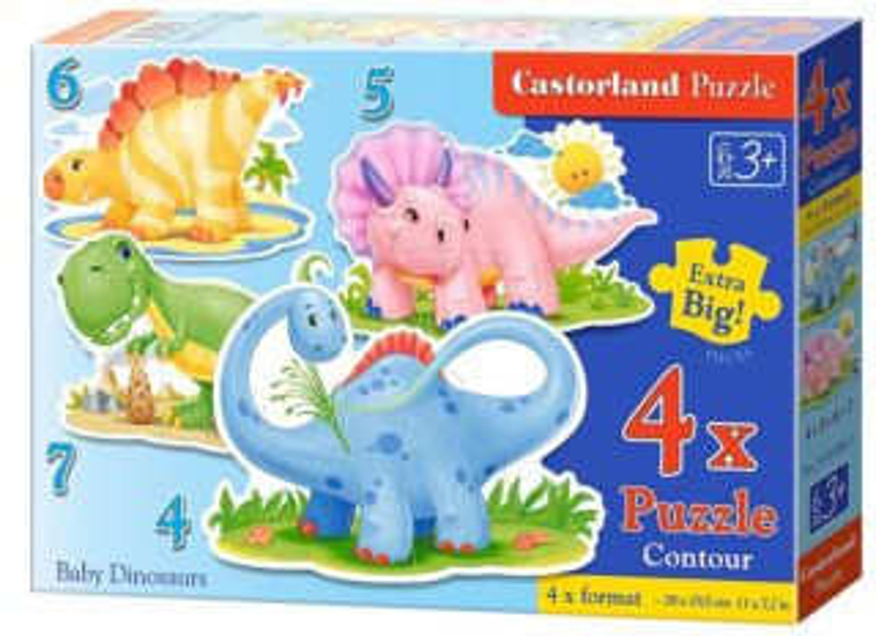 CASTORLAND Baby puzzle Malí dinosauři 4v1 (4,5,6,7 dílků)