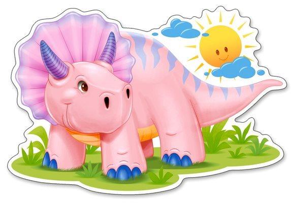 Puzzle CASTORLAND 12 dílků - Malý růžový triceratops, 120048