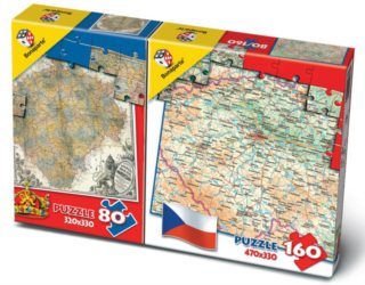 BONAPARTE Puzzle Mapa České republiky 80 + 160 dílků