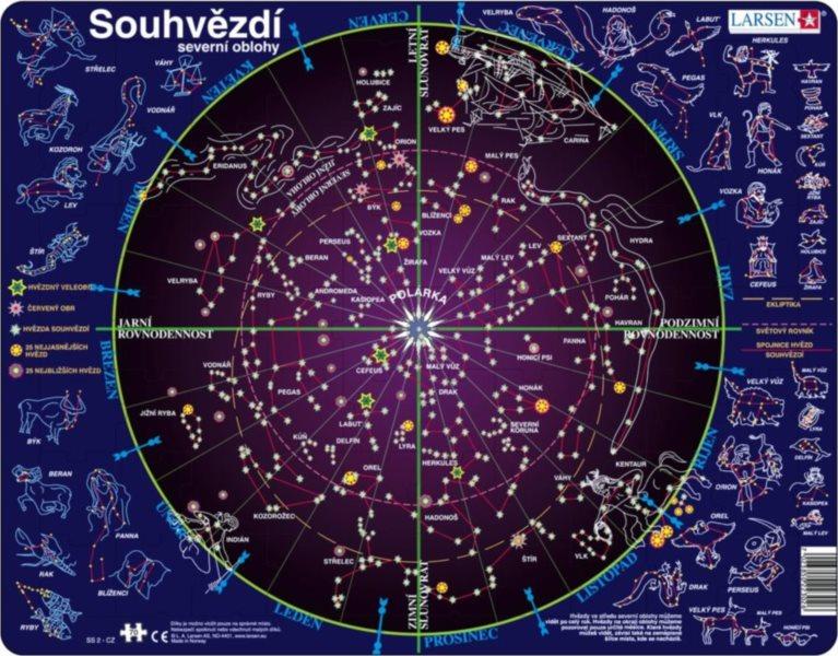 LARSEN Puzzle Mapa hvězdné oblohy 70 dílků