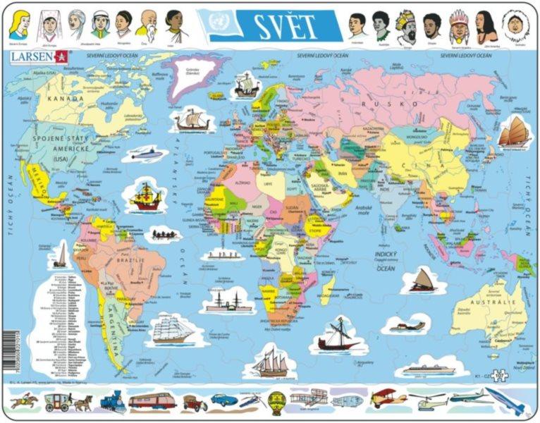 LARSEN Puzzle Mapa světa 107 dílků