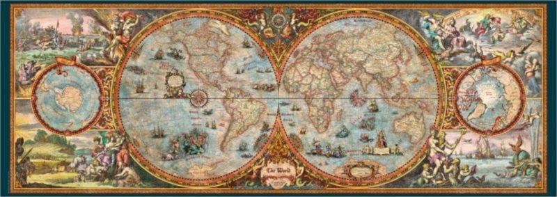 Panoramatické puzzle HEYE 6000 dílků - R.Zigic, Mapa světa