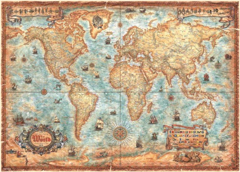 HEYE Puzzle Mapa světa 3000 dílků