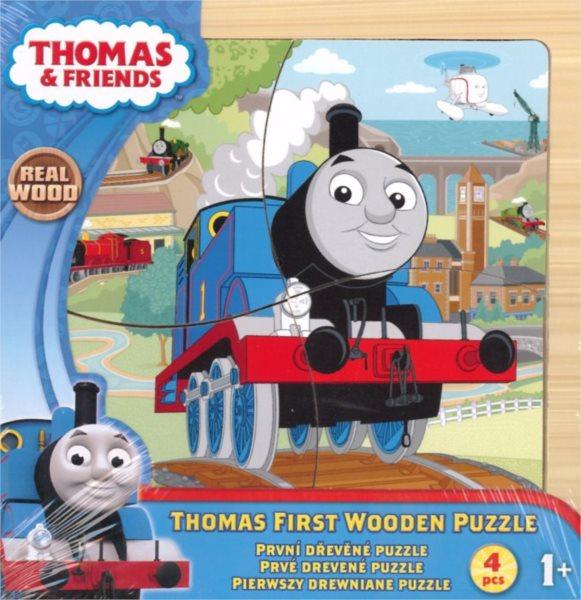 Dřevěné puzzle pro nejmenší - Mašinka Tomáš 4 dílky