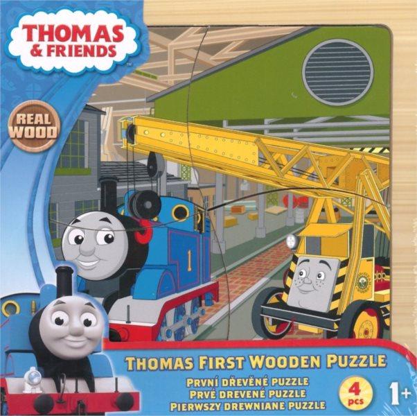 Dřevěné puzzle pro nejmenší - Mašinka Tomáš a kamarád jeřáb 4 dílky