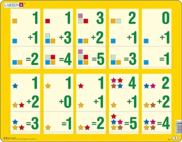 Vzdělávací puzzle LARSEN 10 dílků - Sčítání do pěti