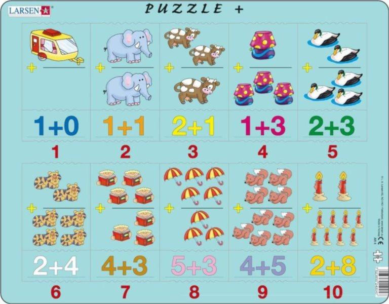 LARSEN Puzzle Obrázkové příklady - sčítání 20 dílků