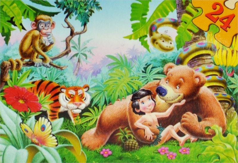 Dětské puzzle 24 dílků - Mauglí, kniha džunglí