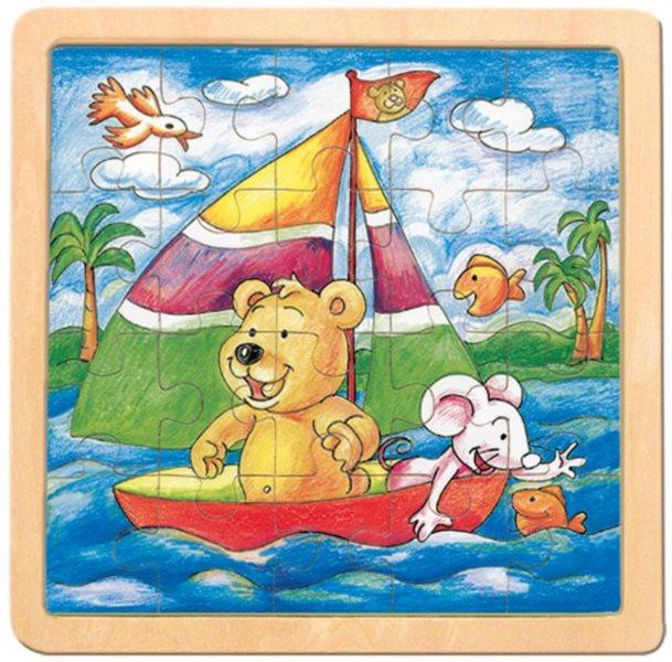 BINO Dřevěné puzzle Medvěd s myškou, Oli a Lea 20 dílků