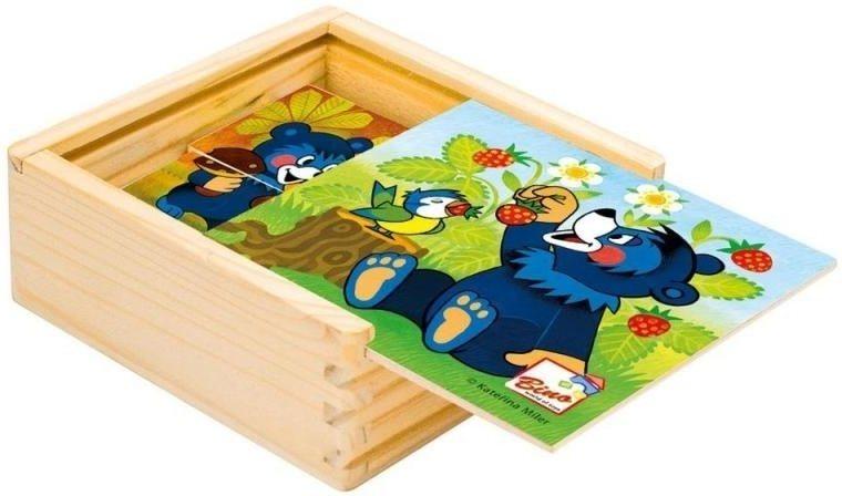 BINO Dřevěné puzzle Medvídek Baribal 4x4 dílky