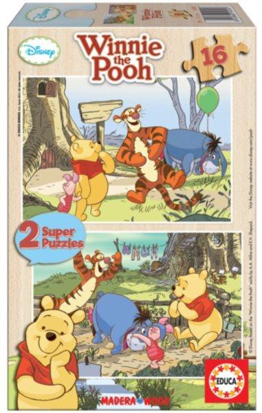 EDUCA Dřevěné puzzle Medvídek Pú: Zábava s přáteli 2x16 dílků